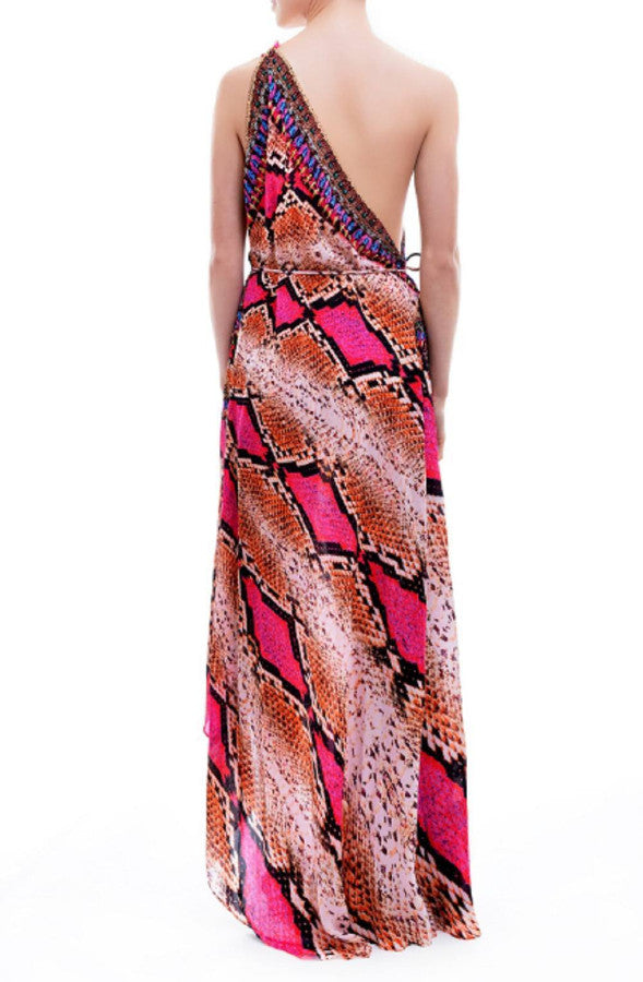 All Dresses - Shahida Parides Fuchsia Python Snake Print Dress
