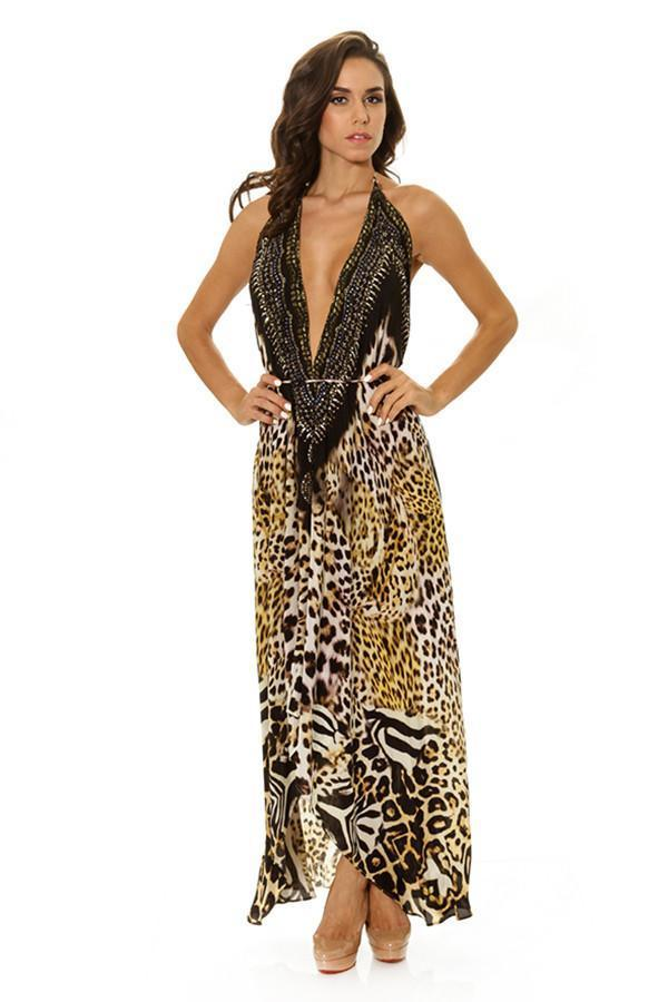 All Dresses - Shahida Parides Leopard Print Dress Maxi 3 Way Dress