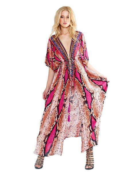 All Dresses - Shahida Parides Pink Python Long Dress