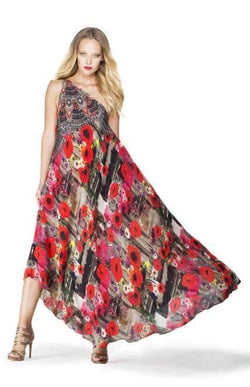 All Dresses - Shahida Parides Poppy Red Print Infinity Dress