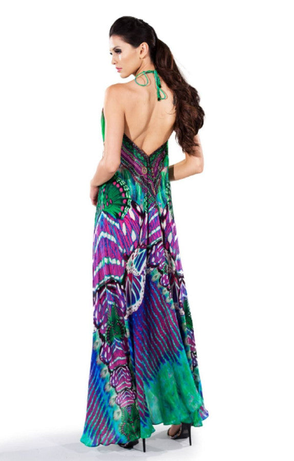 All Dresses - Shahida Parides Purple Butterfly Print Maxi Dress
