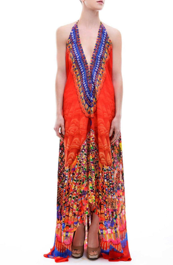 All Dresses - Shahida Parides Red Tribal Print Maxi Dress