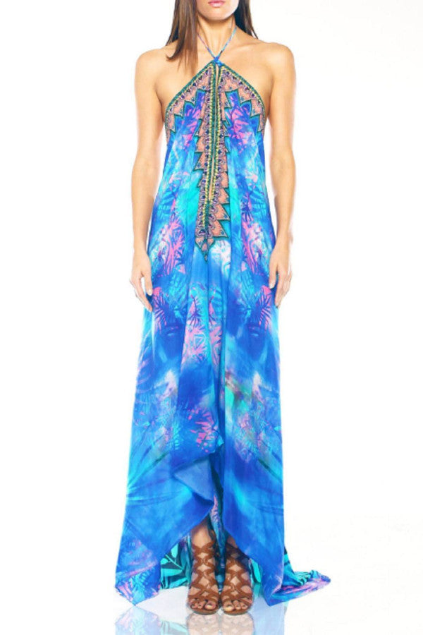 All Dresses - Shahida Parides V Neck Blue Tropical Maxi Dress