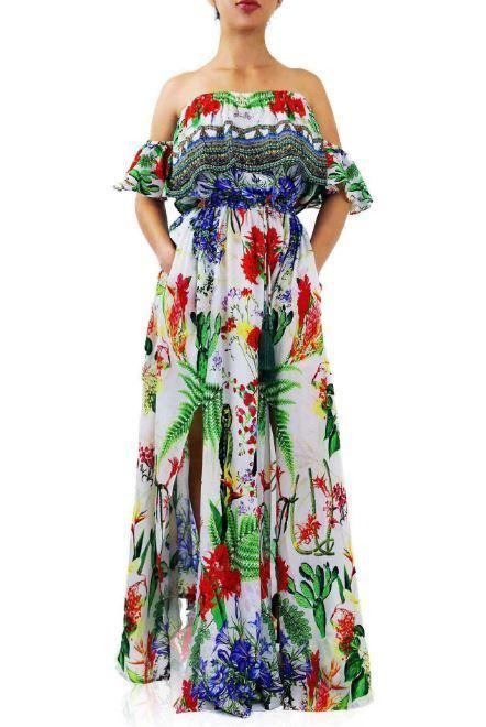 All Dresses - Shahida Parides White And Green Cactus Print Off The Shoulder Maxi Dress