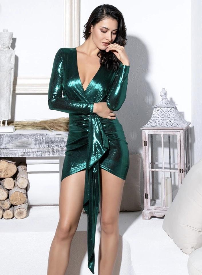 Jessica Bara Bound 2 Emerald V-Neck Dress
