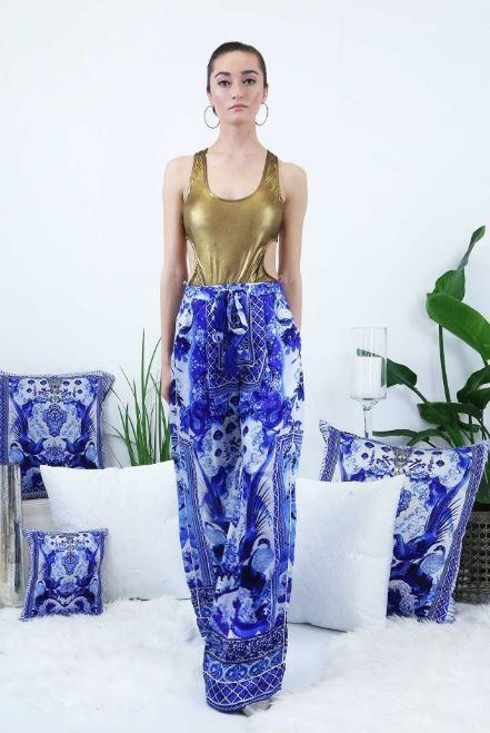 Bottoms - Shahida Parides Blue And White Chinoiserie Straight Leg Pants