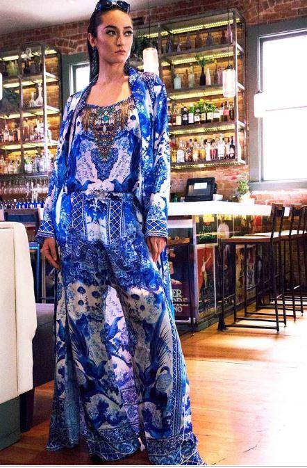 Cover Up - Shahida Parides Blue And White Chinoiserie Print Long Robe