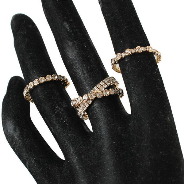 Andi Fashion Crystal 3 Pcs Twisted Ring