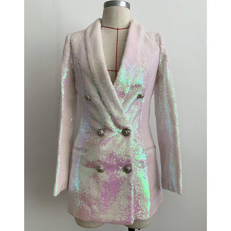 Jessica Bara Steve Sequin Oversized Blazer Dress