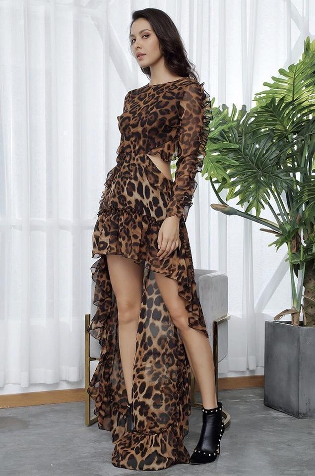Dresses - Jessica Bara Lynn Leopard Cut-Out Hi-Lo Long Sleeve Dress