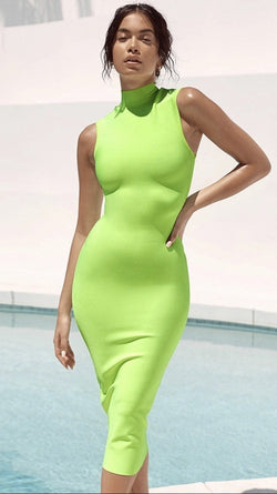 Jessica Bara Lexy Lime Bodycon Midi Dress