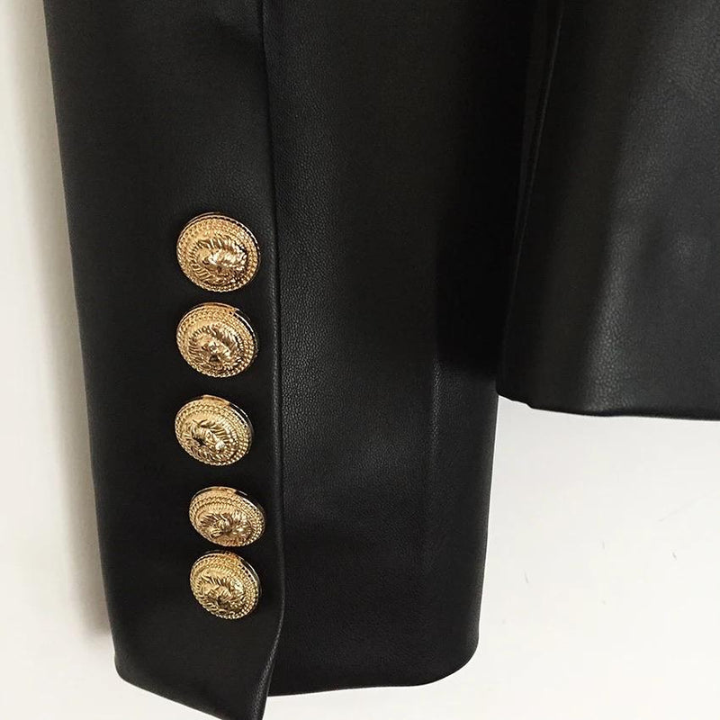 Jessica Bara Bonnie Leather Button Blazer