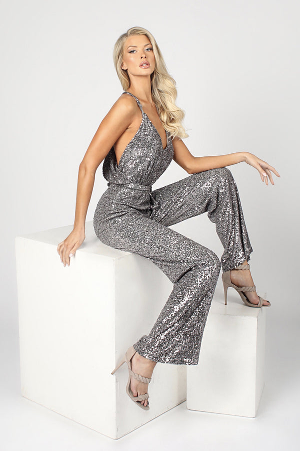 Nicole Bakti V Neck Sequin Jumpsuit