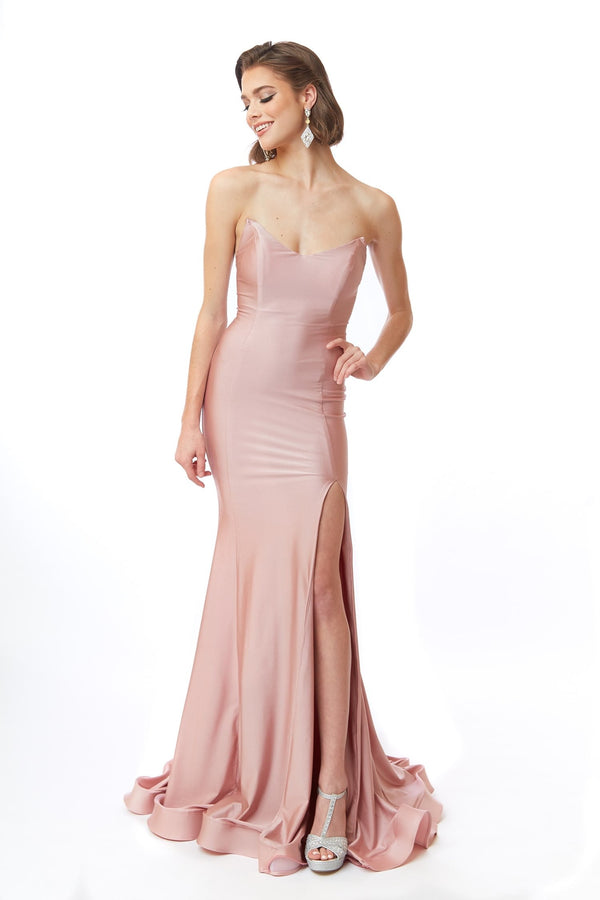Atria Strapless Lace Up Back Gown