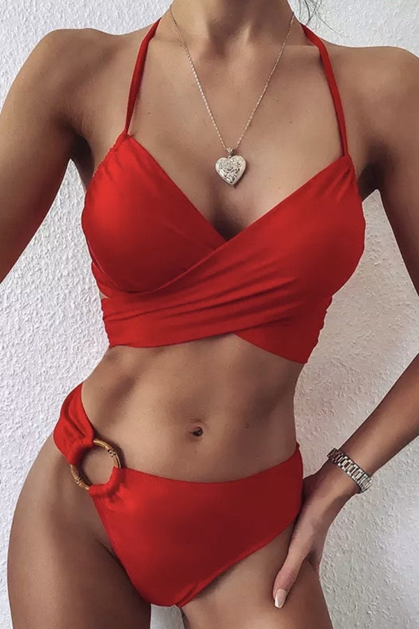Jessica Bara Rafer Criss Cross High Waisted Bikini Set