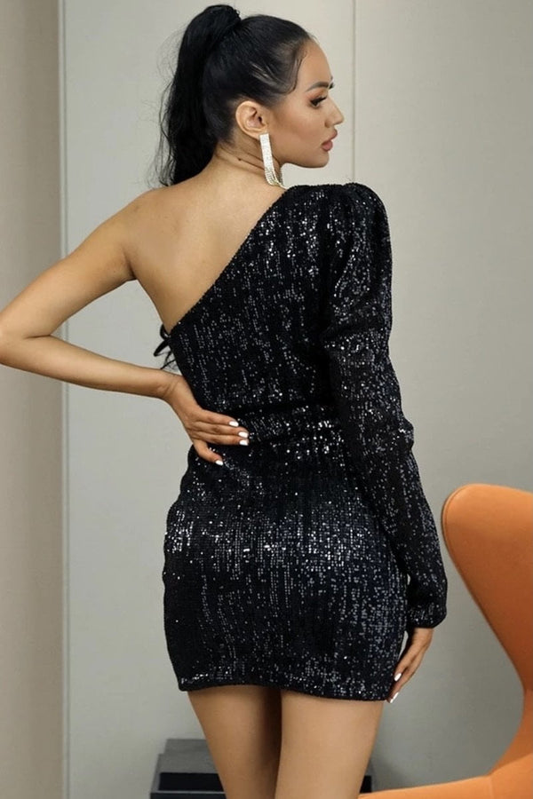 Jessica Bara Lia One Shoulder Sequin Belted Mini Dress