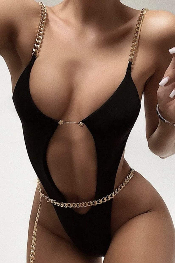 Jessica Bara Sonja Metal Chain Cut Out Swimsuit