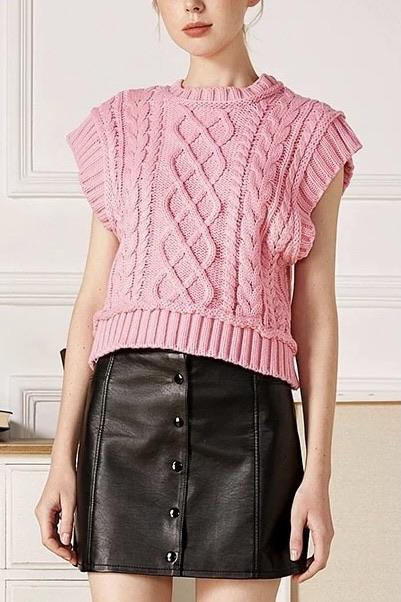 Jessica Bara Caydence Cable Knit Sweater Vest