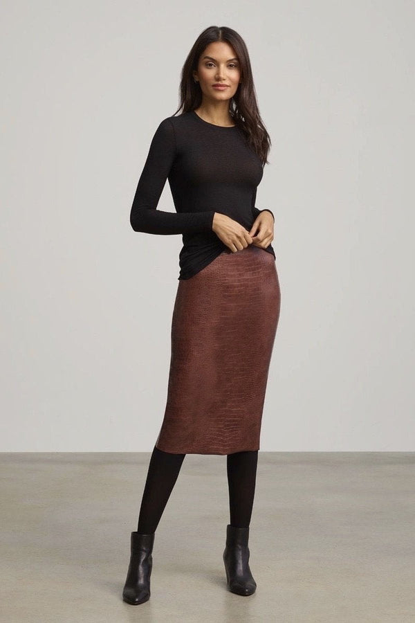Commando Faux Leather Animal Midi Skirt