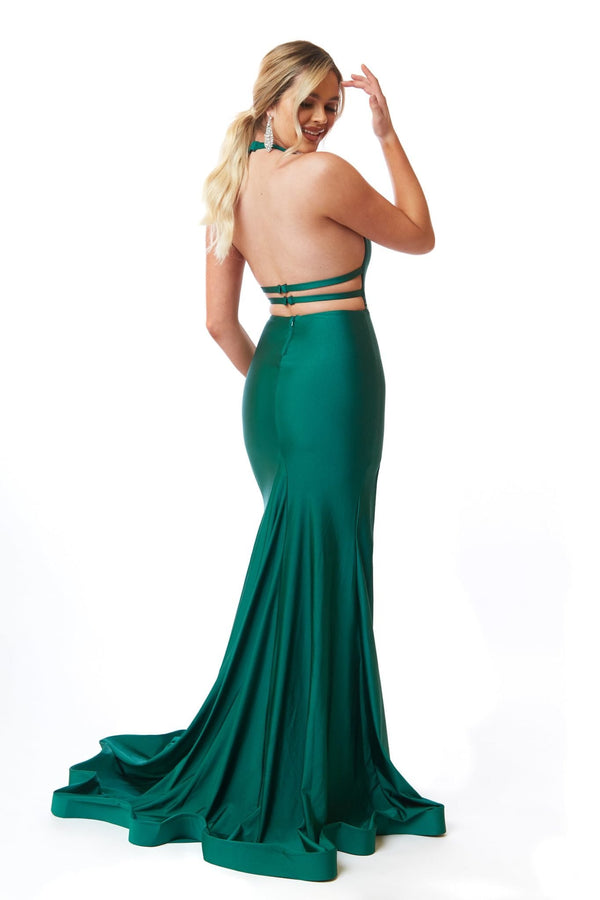 Atria Halter Neck Open Back Gown