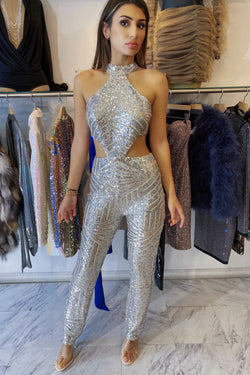 Jessica Bara Tinsley Sequin Cut Out Jumpsuit