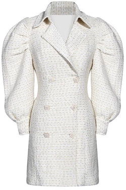Jessica Bara Paulina Double Breasted Tweed Blazer Dress