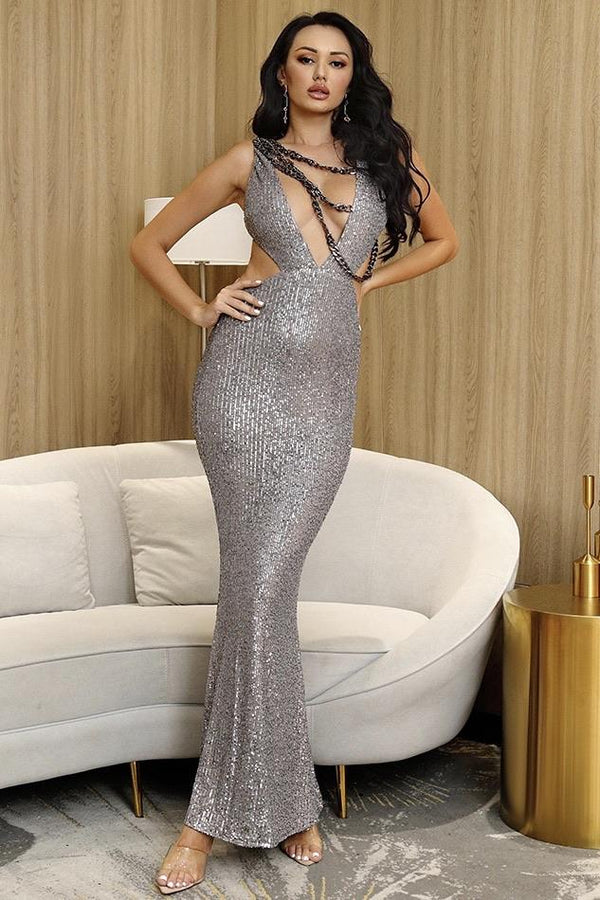 Jessica Bara Sofia V Neck Chain Bodycon Gown