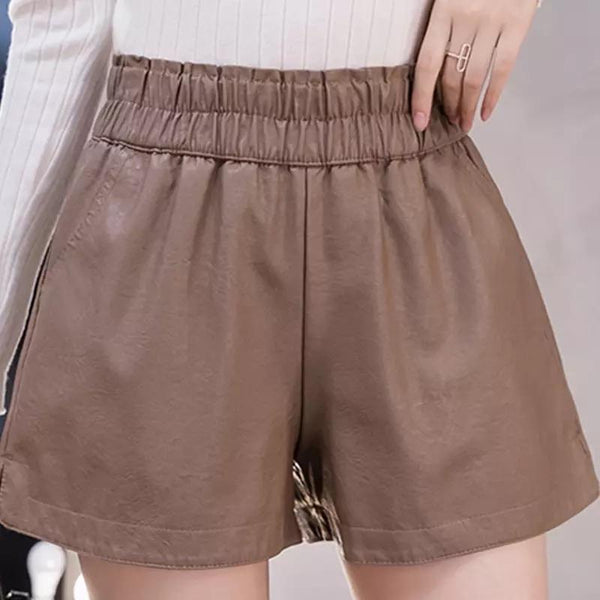 Jessica Bara Carlos PU Leather Elastic Waist Shorts