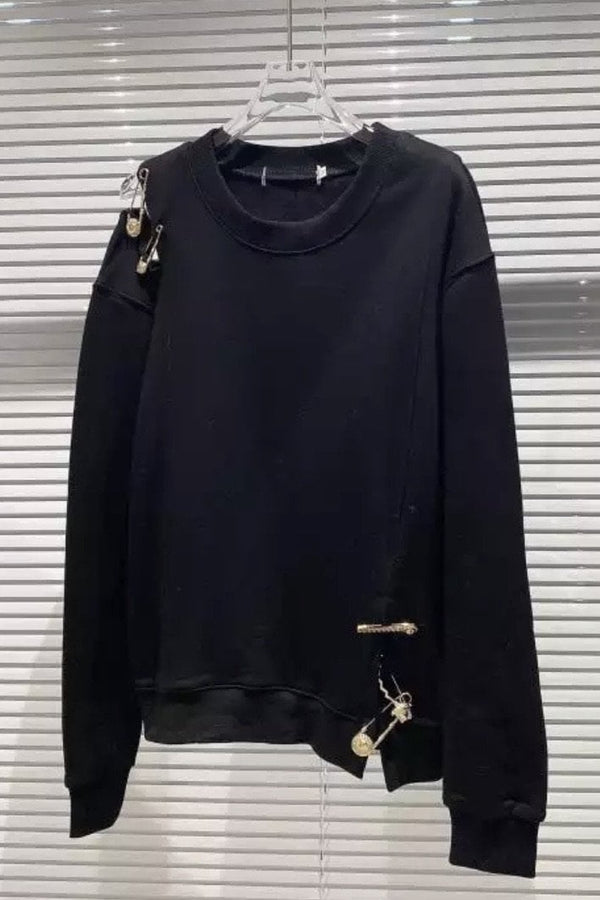 Jessica Bara Kamdyn Long Sleeve Metal Pin Pullover