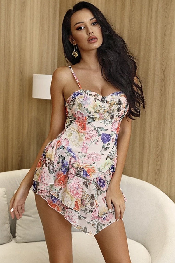 Jessica Bara Mina Floral Ruffle Mini Dress
