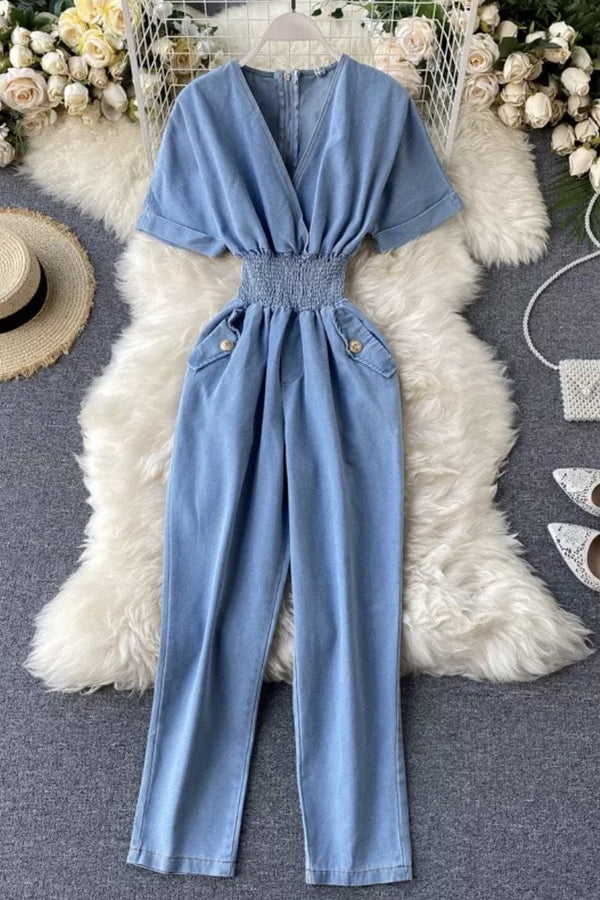 Jessica Bara Samiya Short Sleeve Denim Jumpsuit