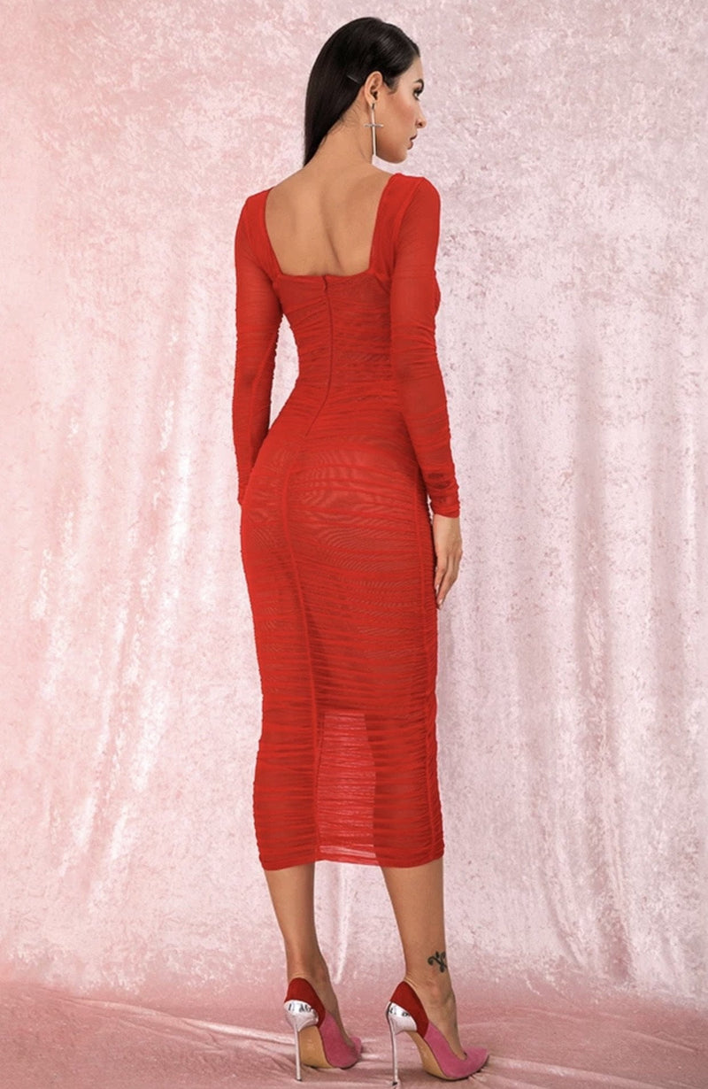 Jessica Bara Fiorella Long Sleeve Ruched Midi Dress