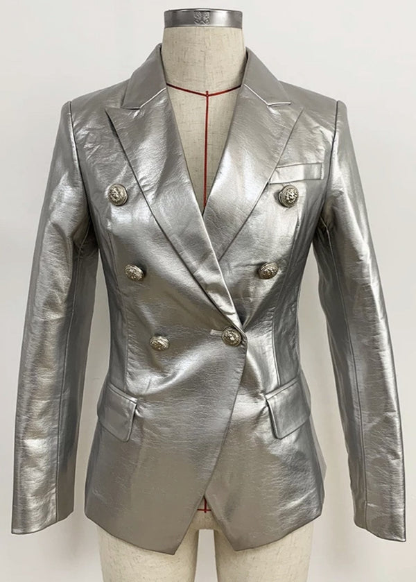 Jessica Bara Bonnie 11 Metallic Silver Button Blazer
