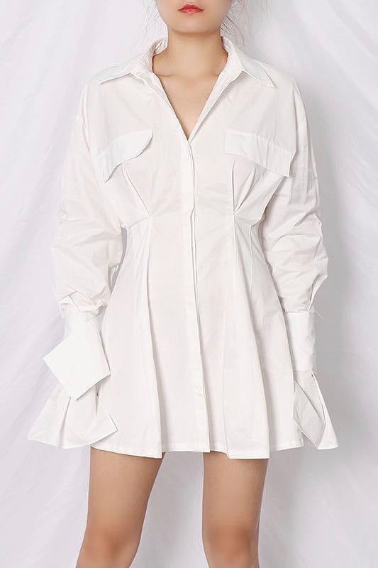 Jessica Bara Monte Long Sleeve Pleated Mini Dress