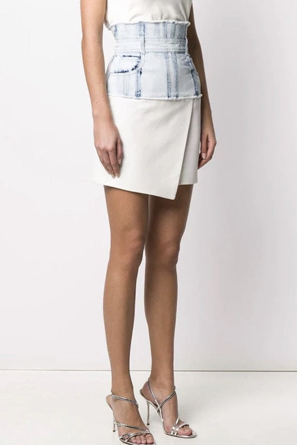 Jessica Bara Lyssa Denim Patchwork Skirt
