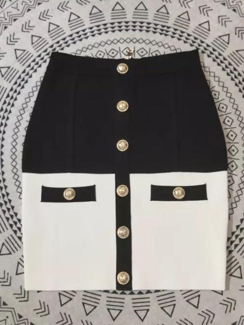 Jessica Bara Riley Color Contrast Mini Skirt