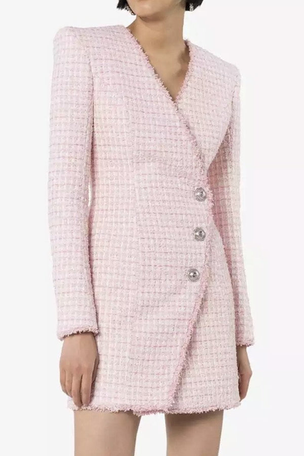 Jessica Bara Jenifer Long Sleeve Tweed Blazer Dress