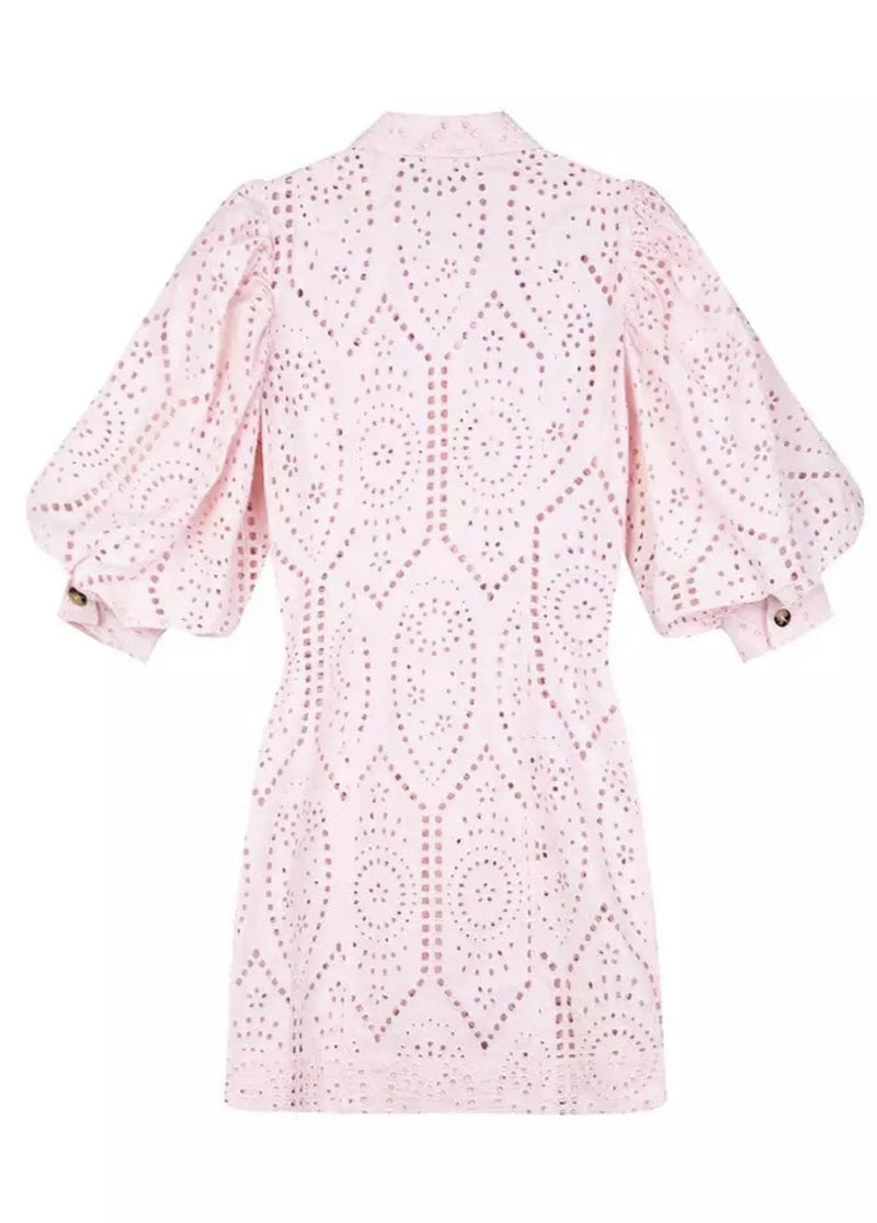 Jessica Bara Joey Collared Eyelet Mini Dress