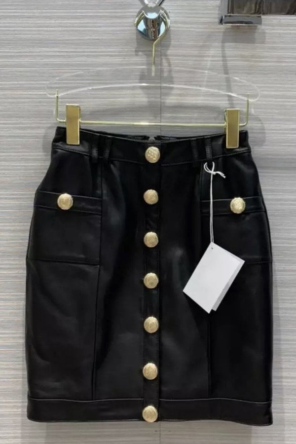 Jessica Bara Arthur Leather Gold Button Mini Skirt
