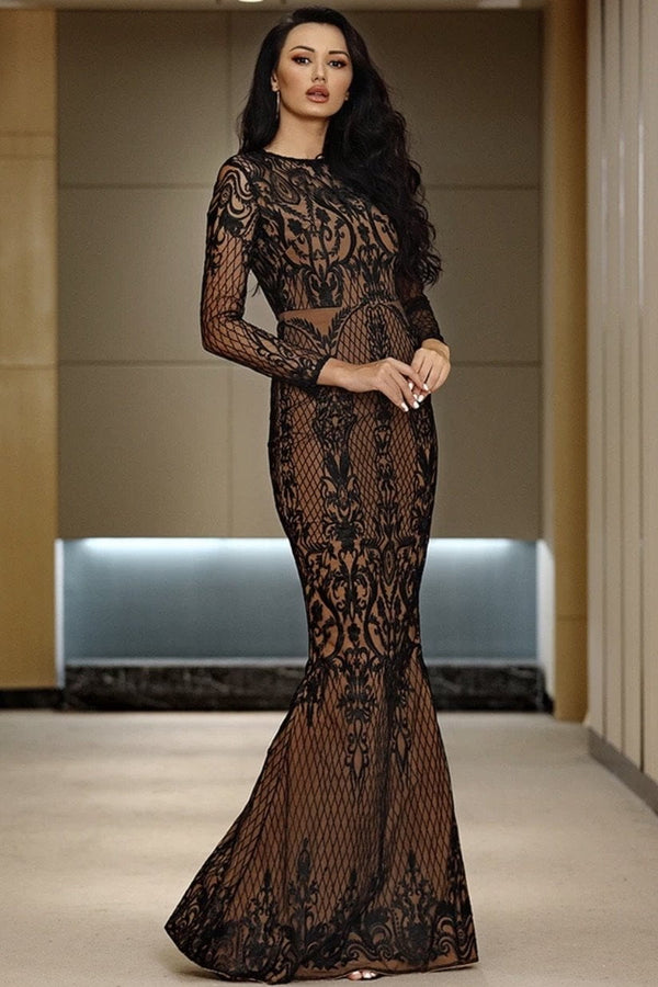 Jessica Bara Jazlyn Long Sleeve Lace Bodycon Gown