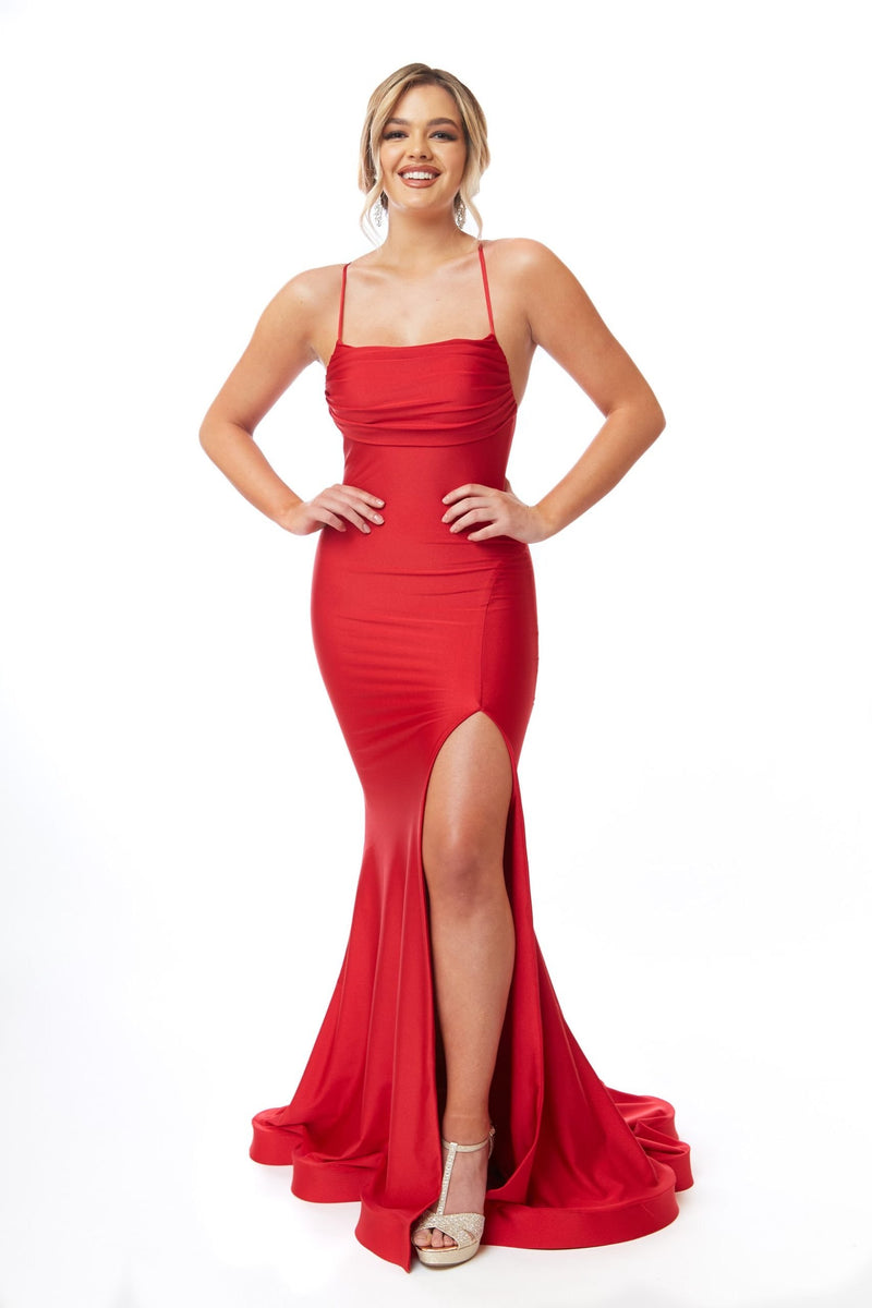 Atria Thin Strap Open Back Gown