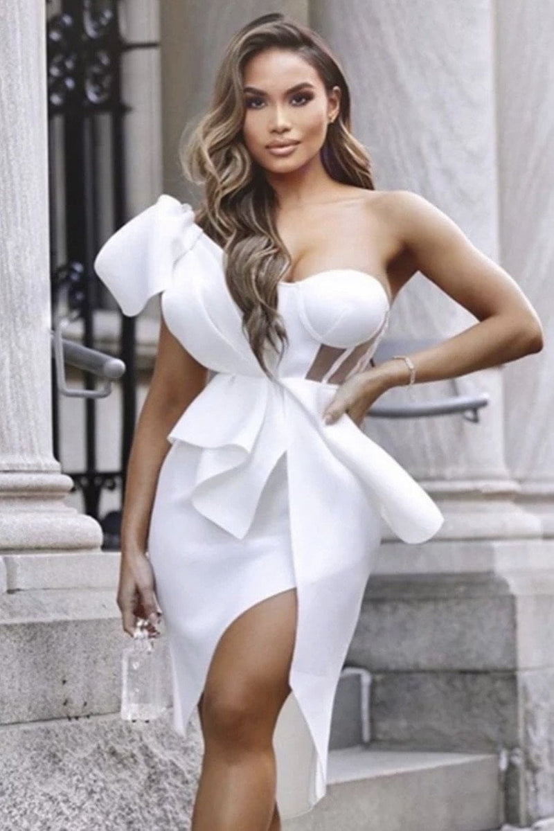 Jessica Bara Carlotta One Shoulder Bustier Mini Dress