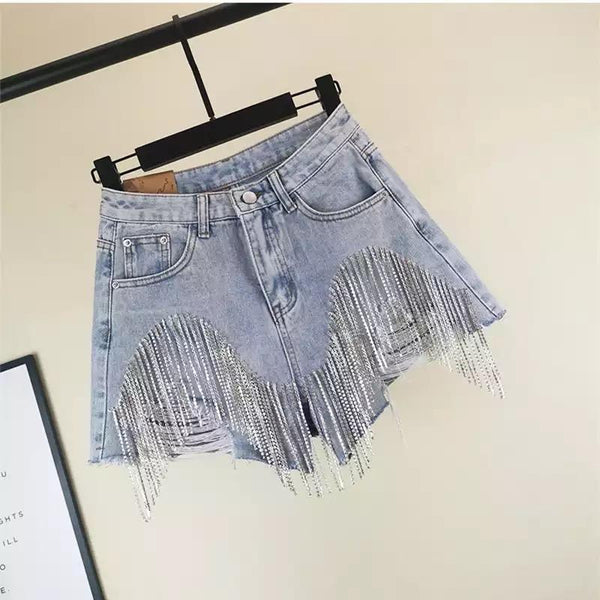 Jessica Bara Aleah High Waisted Rhinestone Denim Shorts