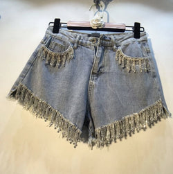 Jessica Bara Ariane High Waisted Rhinestone Denim Shorts