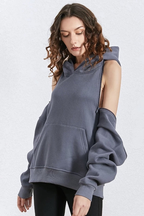 Jessica Bara Caity Cold Shoulder Hooded Sweatshirt