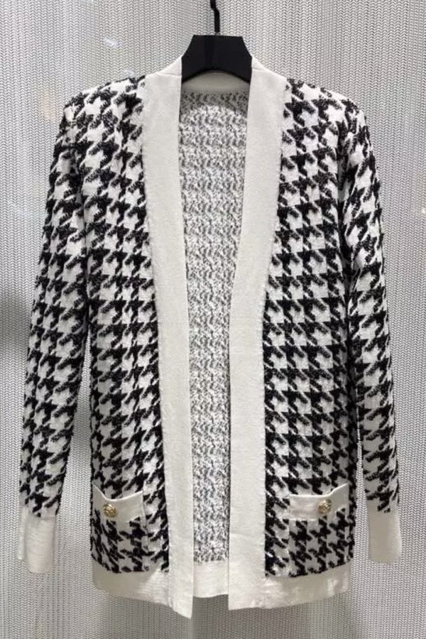 Jessica Bara Jovanni Houndstooth Long Sleeve Cardigan