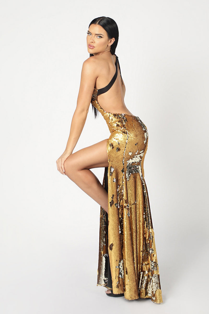 Nicole Bakti One Shoulder Sequin Backless Gown