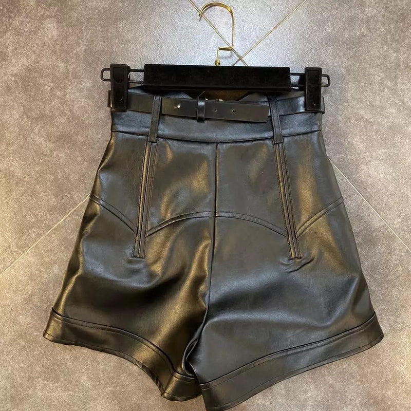 Jessica Bara Miles High Waisted Faux Leather Shorts