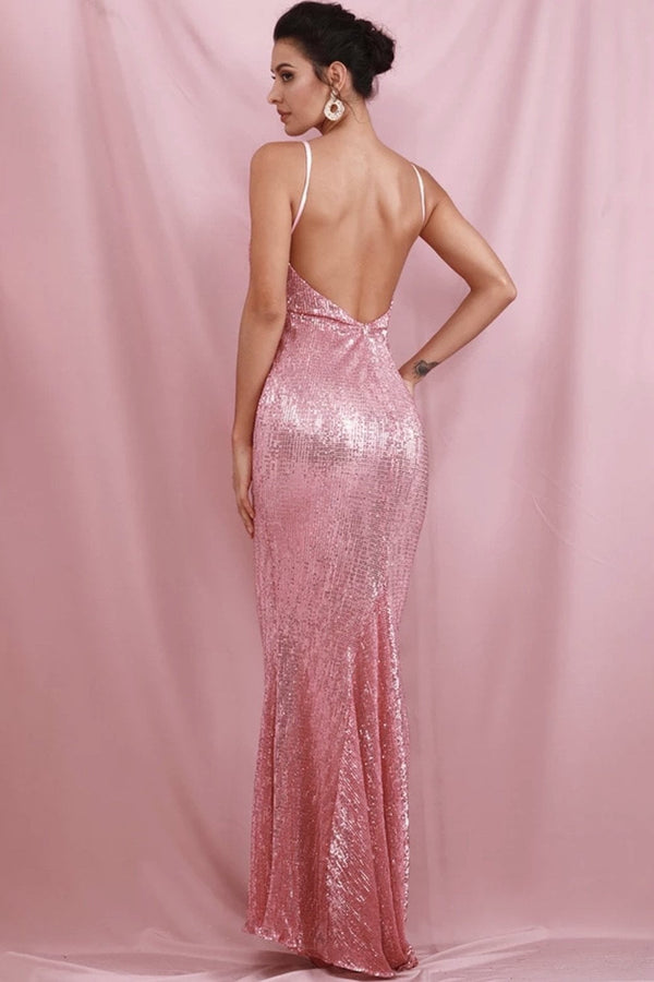 Jessica Bara Arianne V Neck Sequin Backless Gown