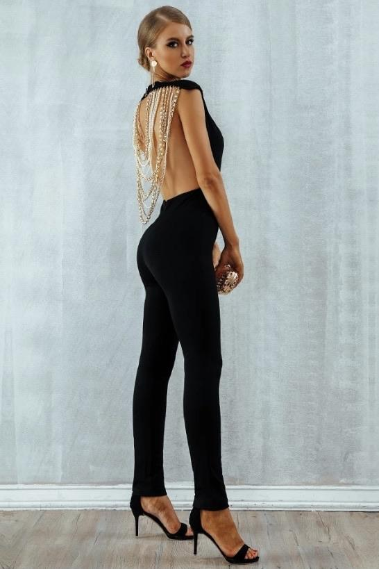 Jessica Bara Cora Backless Beaded Jumpsuit